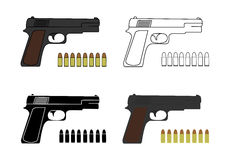 9mm pistols set with bullets Stock Photos