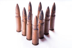 9mm pocisk dla pistoletu odizolowywającego na białym tle Zdjęcia Stock