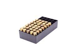 9mm pociska pudełko odizolowywa na białym tle Obraz Royalty Free