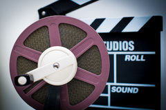 8mm purple reel with out of focus clapper in background Stock Image
