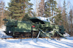 A 180-mm railway artillery cannon TM-1-180 in fighting situation in the February sunny day. Fort `Krasnaya Gorka` Alexeevsky Stock Image