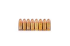 9mm rangée de balles numéro neuf de Photographie stock libre de droits