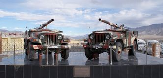 106 mm Recoilless Guns mounted Jeeps on display in Hall of Fame, Leh. 106 mm Recoilless Guns mounted on two Jeeps currently used by Indian Army and Indian Royalty Free Stock Image