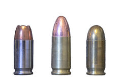 9mm rounds. Three different 9mm rounds isolated on white background Royalty Free Stock Photography