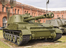 152-mm self-propelled howitzer 2S3. RUSSIA; SAINT-PETERSBURG - JULY 8- 152-mm self-propelled howitzer 2S3 Acacia (1970). Weight, kg: installation-27500 Stock Images