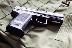 9mm x 19 semi-automatic pistol. Close-up, studio shot Stock Photos