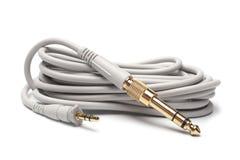 3,5mm stereoman till 6,3mm Strereo TRS manlig ljudsignal kabel Royaltyfria Foton