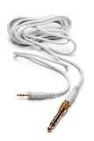 3,5mm stereoman till 6,3mm Strereo TRS manlig ljudsignal kabel Royaltyfri Foto