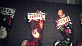 (8mm Vintage) Christmas Stockings Ready 1957 stock video footage