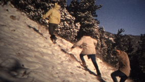 (8mm Vintage) 1965 Cut Your Own Colorado Christmas Tree Montage stock video