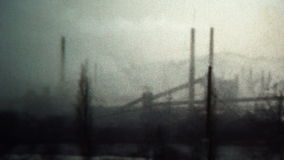 (8mm Vintage) 1956 Factory Smokestack Pollution Industry West Virginia, USA. stock video footage