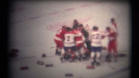 (8mm Vintage 1970s) Hockey Fight From Above stock footage