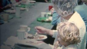 (8mm Vintage) 1962 Summer Outdoor Community Picnic Town Breakfast. Iowa, USA. stock video