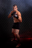 MMA. Mixed martial artist posed in front of chain link Royalty Free Stock Image