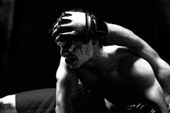 MMA. Mixed martial artists fighting - ground fighting Stock Photo