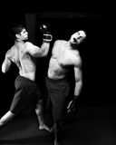 MMA. Mixed martial artists fighting - knock out Royalty Free Stock Photos