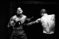 MMA. Mixed martial artists fighting - punching Stock Photo