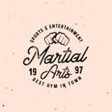 Mma als thema had retro embleemmalplaatjes in uitstekende stijl met grungeeffect Royalty-vrije Stock Foto