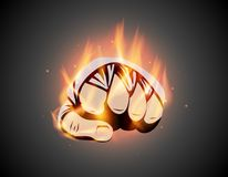 MMA or boxing burning bandage fist. Mixed martial arts fighting flame hand emblem or logo idea. Vector athletic symbol with fire.  stock illustration