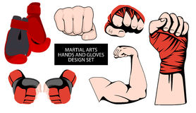 MMA or boxing red gloves hand design element set Stock Images