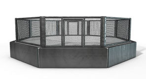 MMA Cage. A 3D render of an MMA fight cage arena dressed in black padding on an isolated white studio background Stock Photography