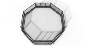MMA Cage. A 3D render of an MMA fight cage arena dressed in black padding on an isolated white studio background Stock Photo