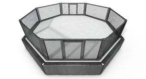 MMA Cage. A 3D render of an MMA fight cage arena dressed in black padding on an isolated white studio background Royalty Free Stock Photography