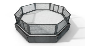 MMA Cage. A 3D render of an MMA fight cage arena dressed in black padding on an isolated white studio background Stock Images