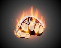 MMA of de in dozen doende brandende verbandvuist mengde vechtsporten bestrijdend het embleem of het embleemidee van de vlamhand V stock illustratie