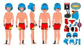 MMA-de Mannelijke Vector van de Mensenspeler Het voorbereidingen treffen voor opleiding Het traditionele Vechten stelt Beeldverha vector illustratie