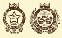 Mma distressed print set. Vector mma scratched stamp set stock illustration