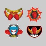 MMA emblem set. Mix fight club logo.  Vector illustration Stock Photo