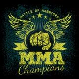 MMA-etiketten op grungeachtergrond Royalty-vrije Stock Afbeeldingen