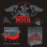 MMA-Etiketten - Vector Gemengd Vechtsportenontwerp Stock Afbeelding