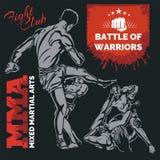 MMA-Etiketten - Vector Gemengd Vechtsportenontwerp Royalty-vrije Stock Afbeelding