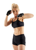 MMA female fighter punching Stock Photo