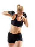MMA female fighter punching Royalty Free Stock Photo