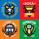 MMA fight academy emblem graphics. MMA mixed martial arts style graphics.  Available in eps vector for easy editing Royalty Free Stock Images