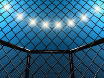 MMA Fight cage and floodlights. Fight cage and floodlights , 3d illustration Royalty Free Stock Images