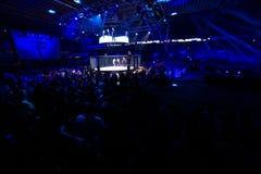 MMA fight turnament. Novi Sad, Serbia - November 05 2016 : MMA - SBC fight turnament. Crowd in turnament arena extreme Sport. Fight night, profesional athletes stock image