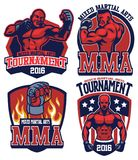 MMA fighter badge set. Vector of MMA fighter badge set Stock Image