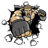 MMA Fighter break the wall. Vector of MMA Fighter break the wall Stock Photo
