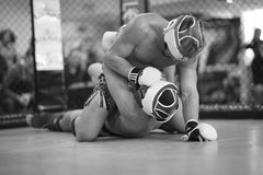 MMA fighter controlling his opponent in clinch Stock Image