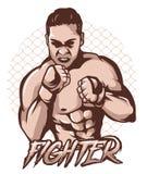 Mma fighter man stock illustration