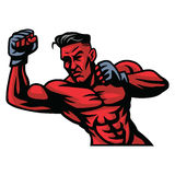 MMA Fighter Mascot Vector. Illustration Royalty Free Stock Photo