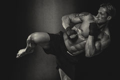 MMA Fighter Practicing Some Kicks With Punching Bag Stock Image