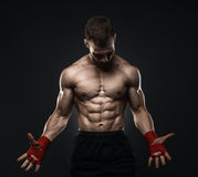 MMA Fighter Preparing Bandages For Training. Royalty Free Stock Image