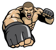 Mma fighter throw a punch Royalty Free Stock Photos