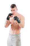 MMA fighter on white background Royalty Free Stock Photos