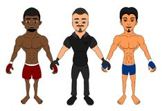 Free MMA Fighters And A Referee Cartoon Royalty Free Stock Photo - 121951275